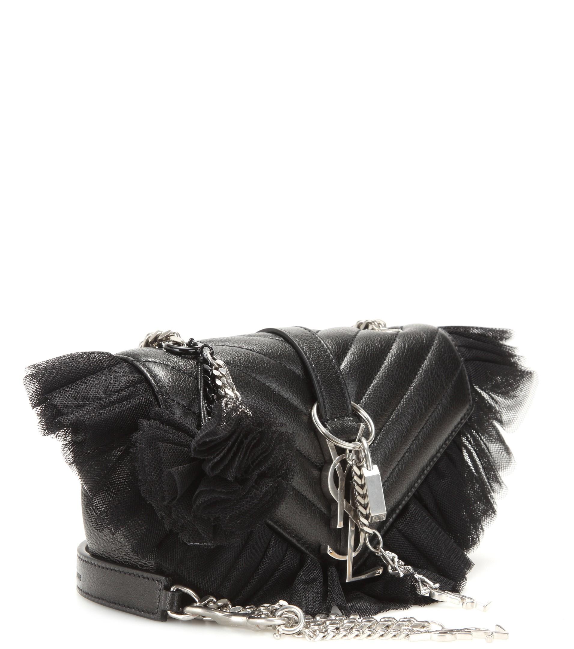 Lyst - Saint Laurent Monogram Baby Embellished Quilted Leather Shoulder Bag  in Black a67362d1a2a2e