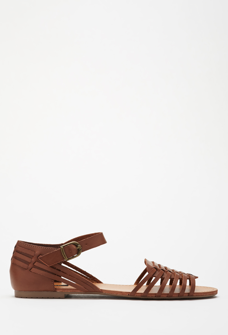 f6df54ea4a6d Lyst - Forever 21 Woven Faux Leather Sandals in Brown