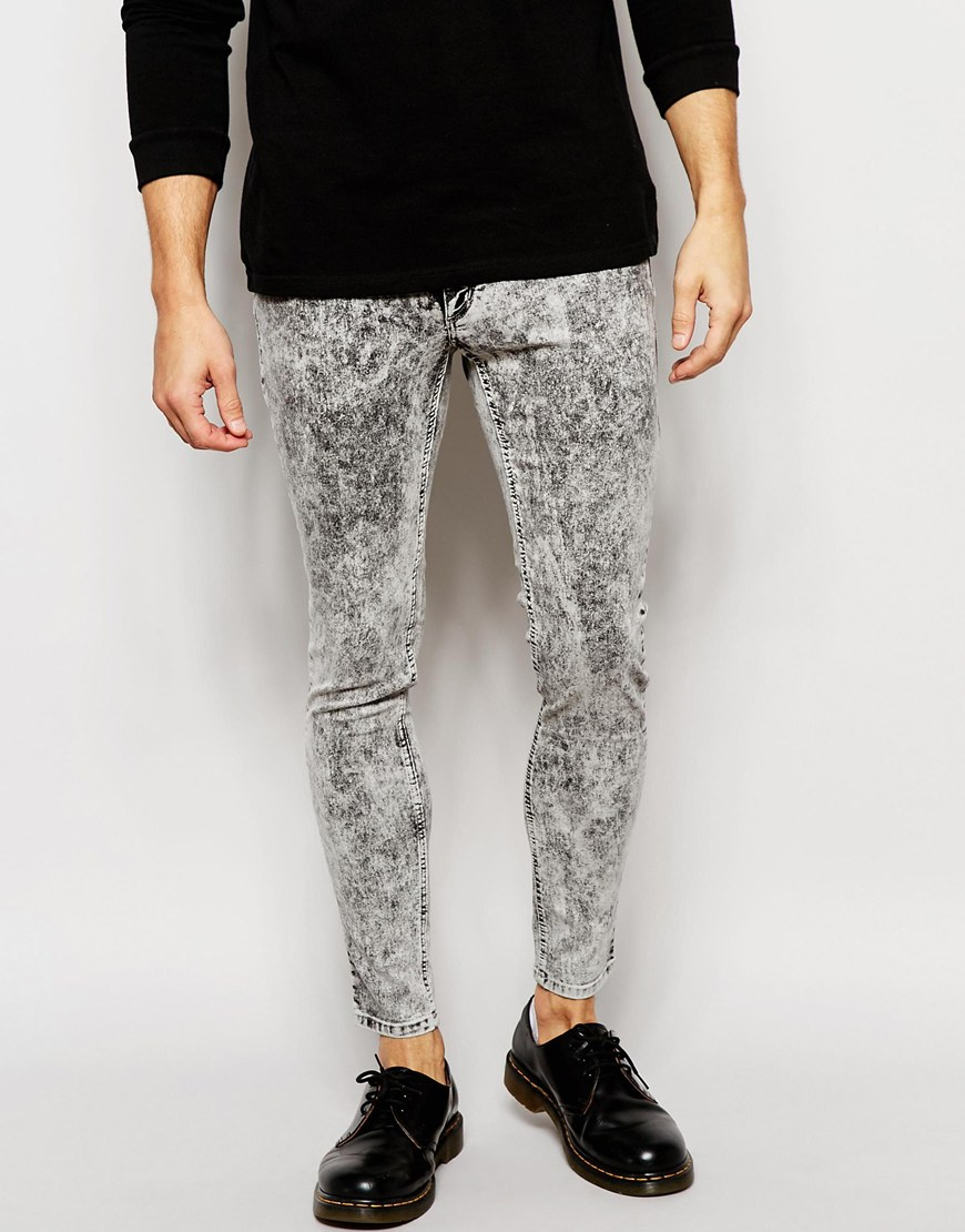 Cheap monday Jeans Low Spray On Super Skinny Fit Black Ice in Gray ...