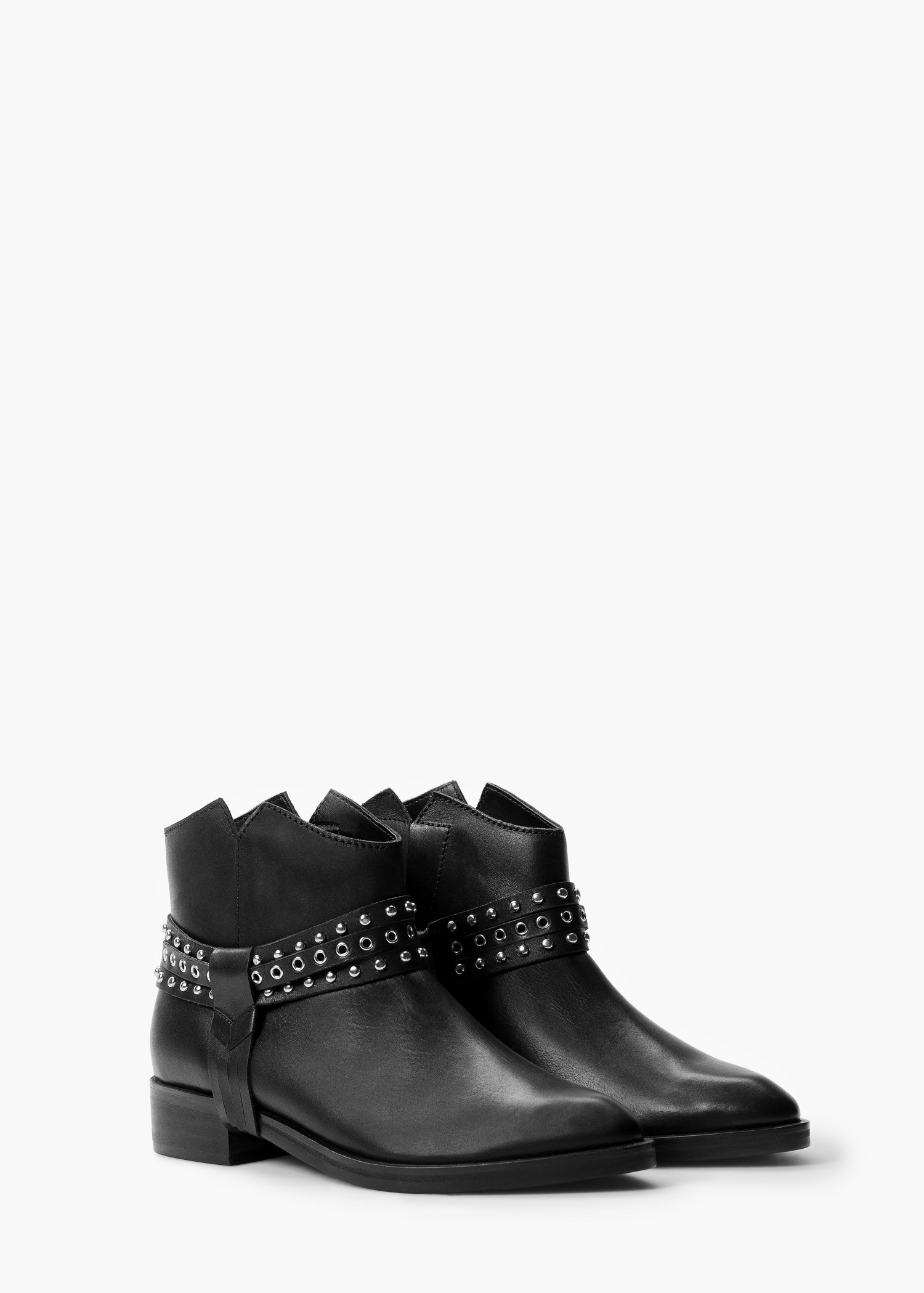 Mango Studded Leather Ankle Boots In Black | Lyst