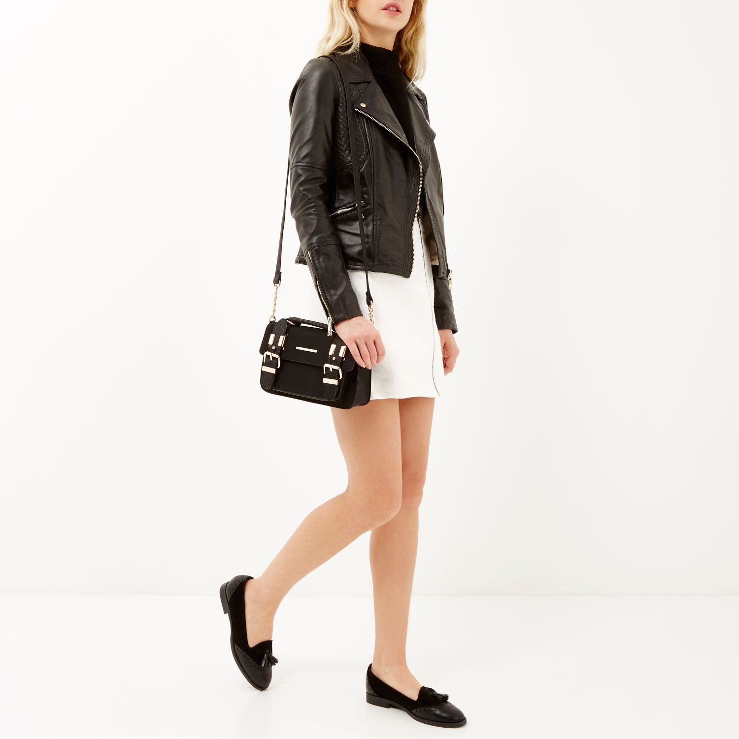 River island Black Faux Suede Mini Satchel Handbag in Black | Lyst