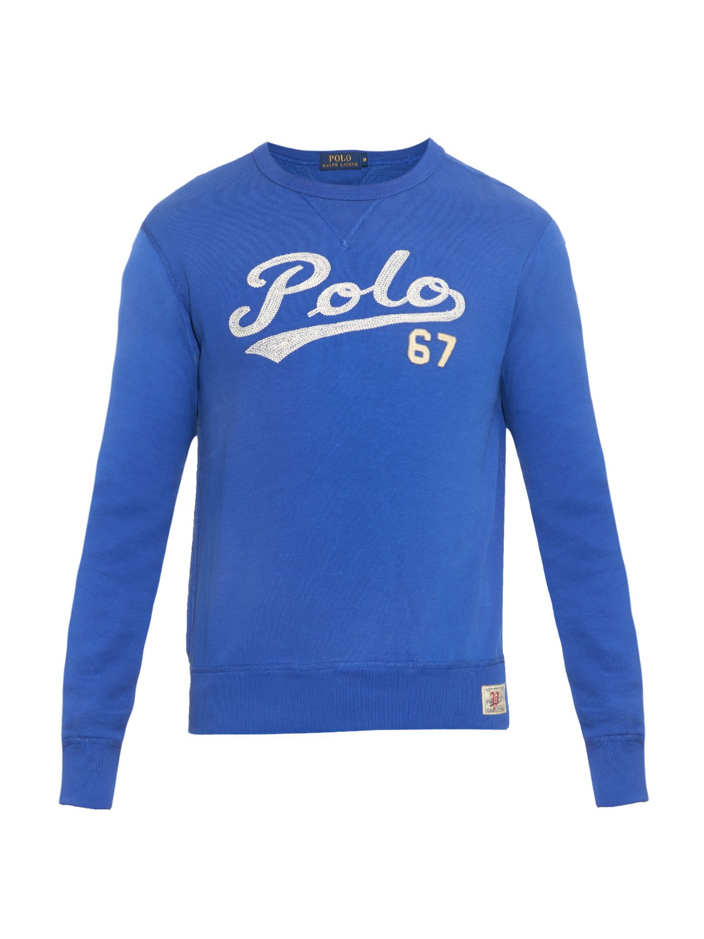 polo ralph lauren logo embroidered jersey sweatshirt in blue for men lyst. Black Bedroom Furniture Sets. Home Design Ideas