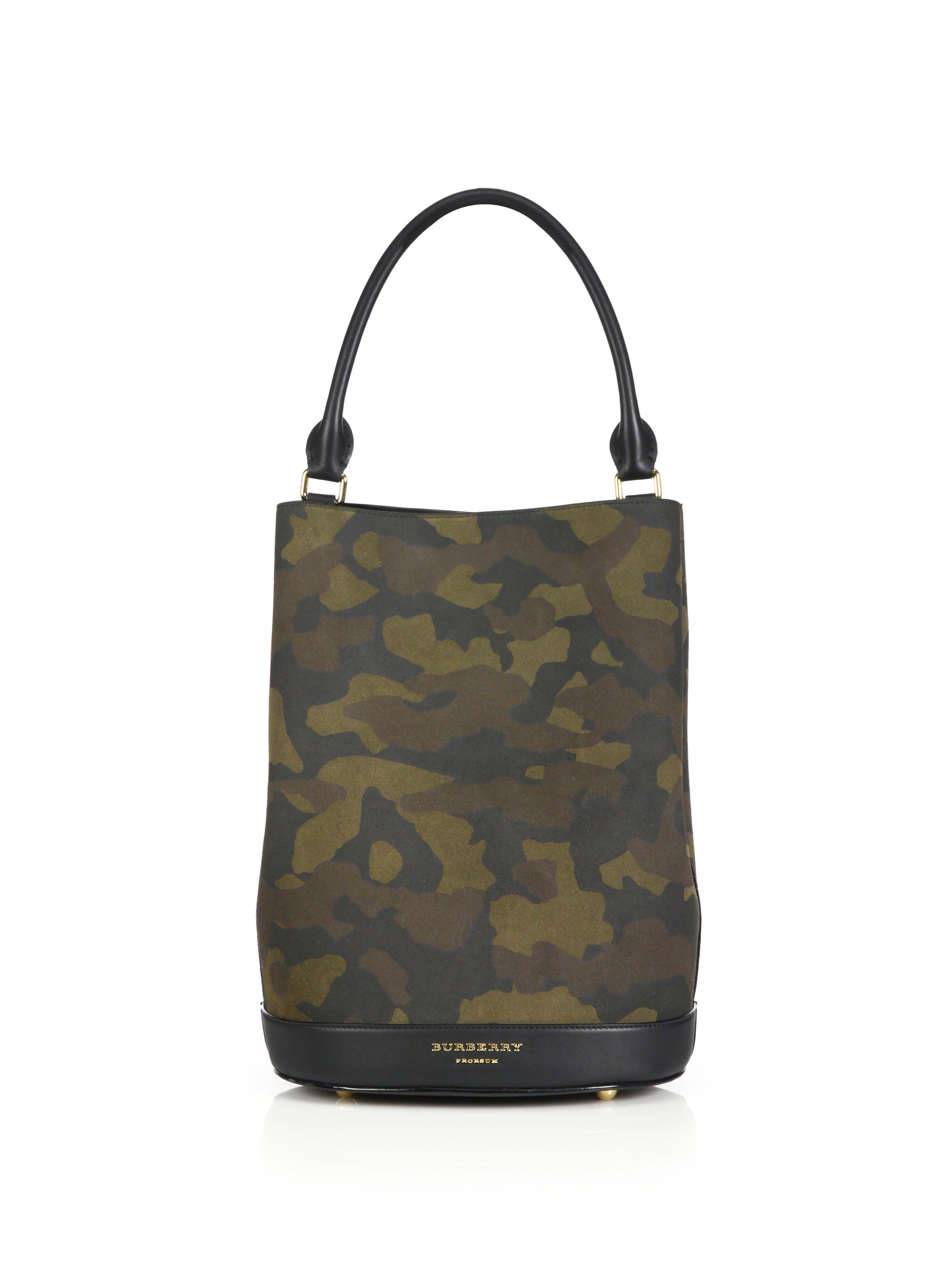 Lyst - Burberry Camouflage Leather Bucket Bag in Green 4fa9d83097357
