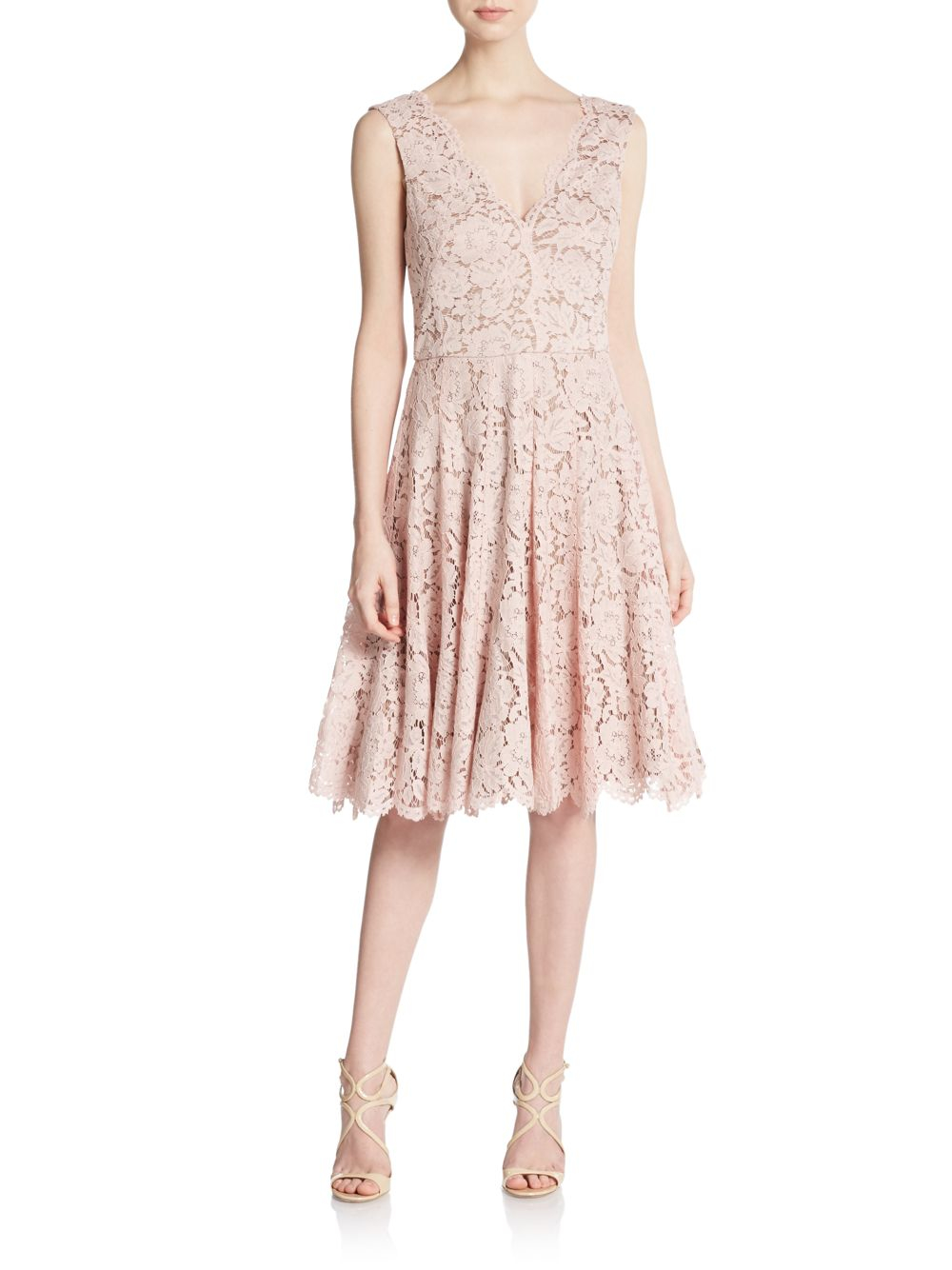 999ba97bb1322 Vera Wang Scarlet Lace A-line Dress in Pink - Lyst