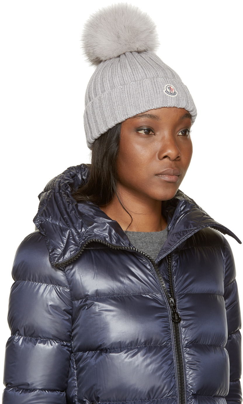 Lyst - Moncler Grey Berretto Hat in Gray 83b55793356