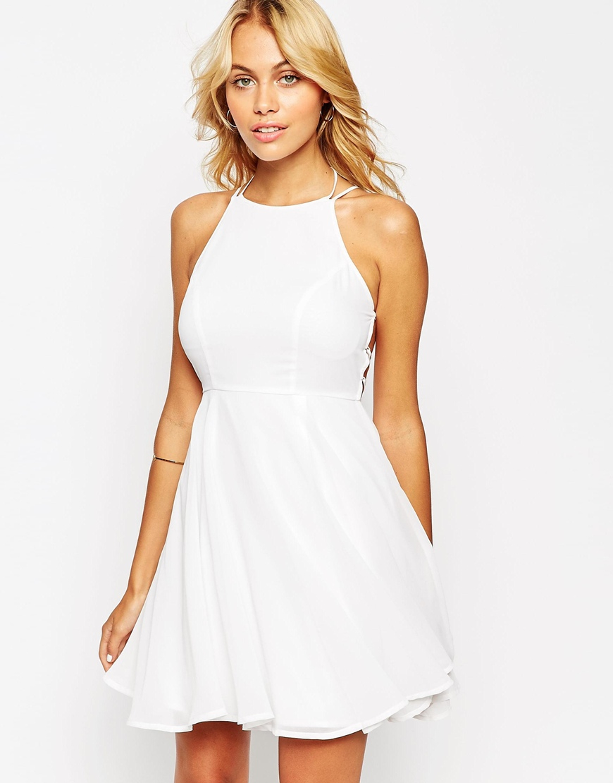 d393701baefa ASOS Skater Dress With Lace Up Back in White - Lyst