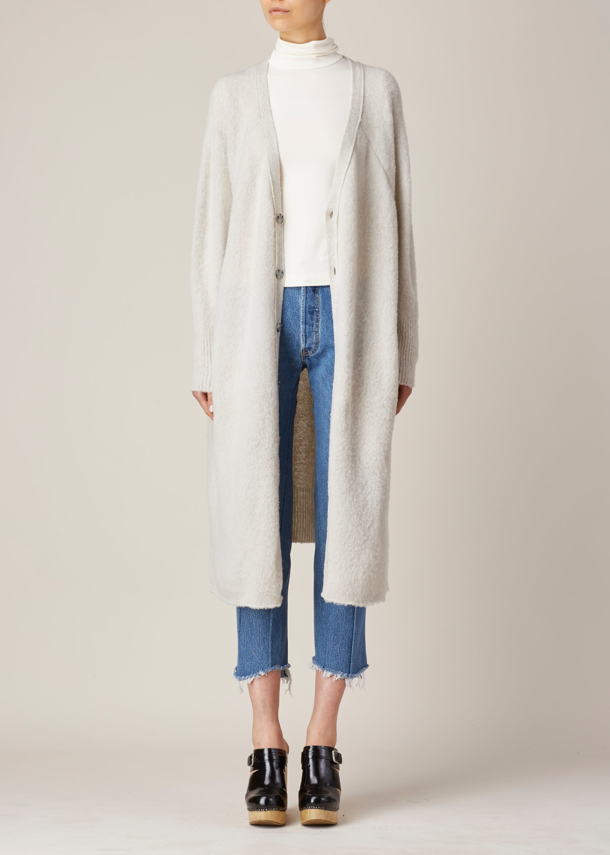 Y's yohji yamamoto Ivory Super Long Cardigan in White | Lyst