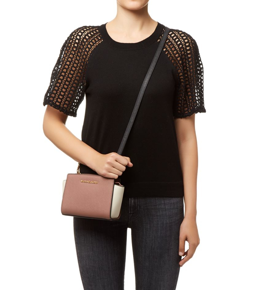 c60b64c57895 ... get michael michael kors selma mini messenger bag in brown lyst 221fa  d2fcf