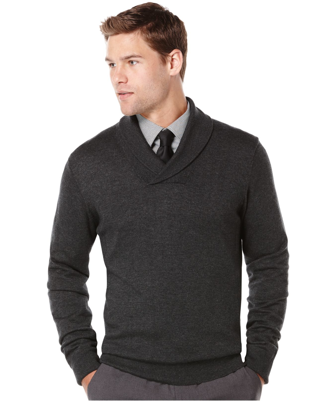 Perry ellis Shawl-collar Sweater in Gray for Men | Lyst