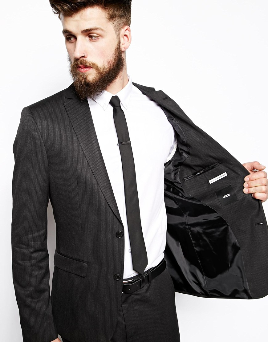 Asos Slim Fit Suit Jacket In Fine Stripe in Black for Men | Lyst