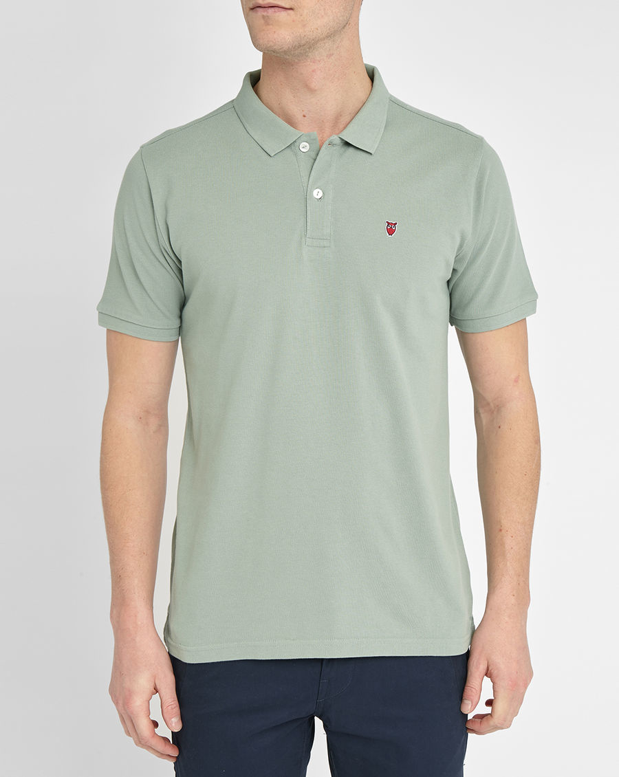knowledge cotton apparel aqua chouette cotton piqu polo shirt in green for men lyst. Black Bedroom Furniture Sets. Home Design Ideas