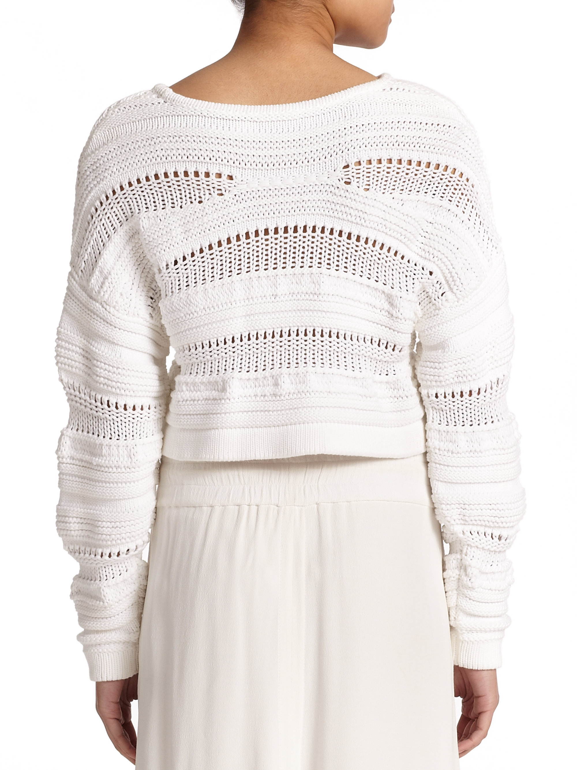 0a2b99e8e7ddb6 Lyst - Helmut Lang Open-knit Cropped Sweater in White