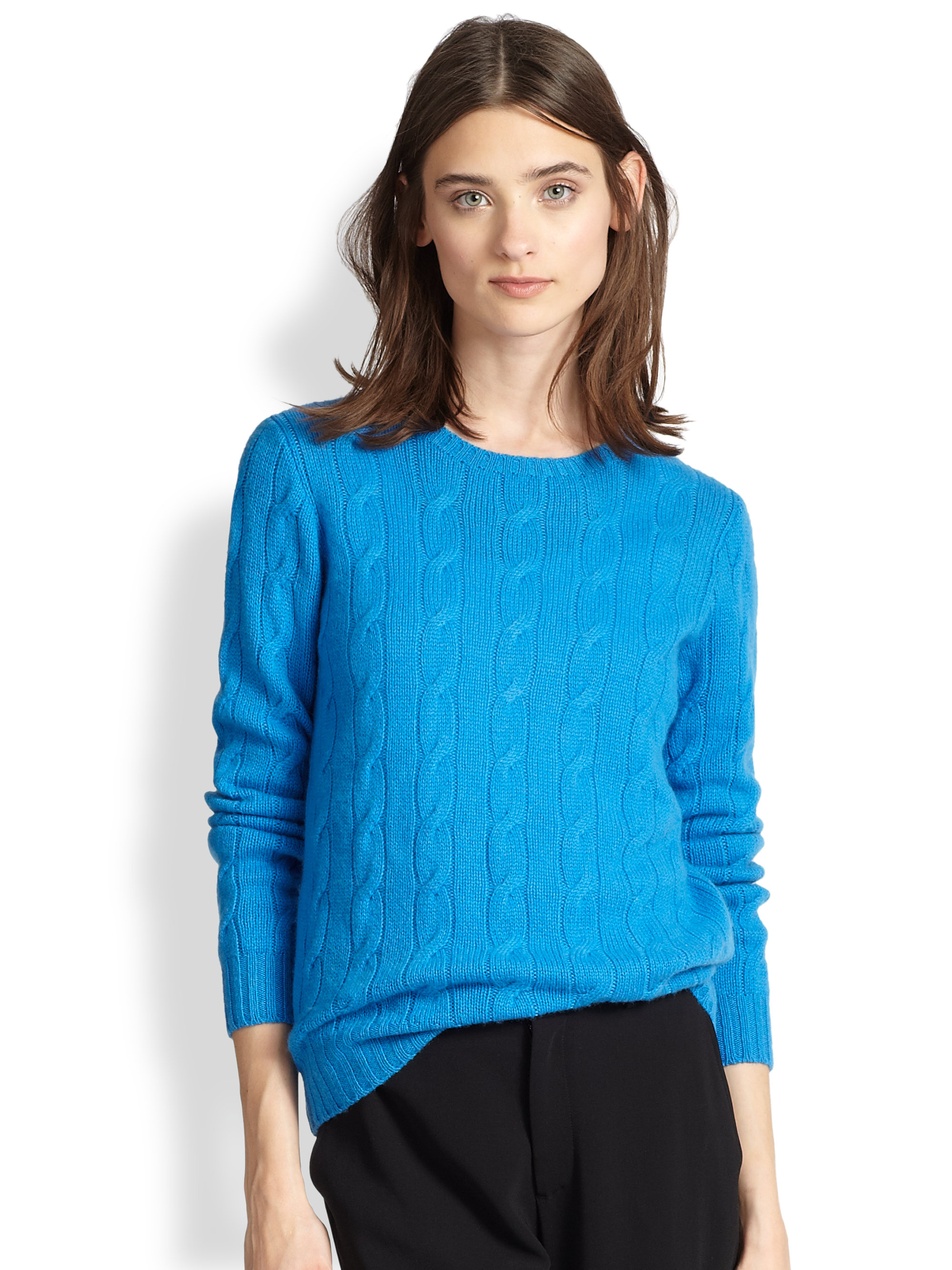 Ralph lauren black label Cable-knit Cashmere Sweater in Blue | Lyst