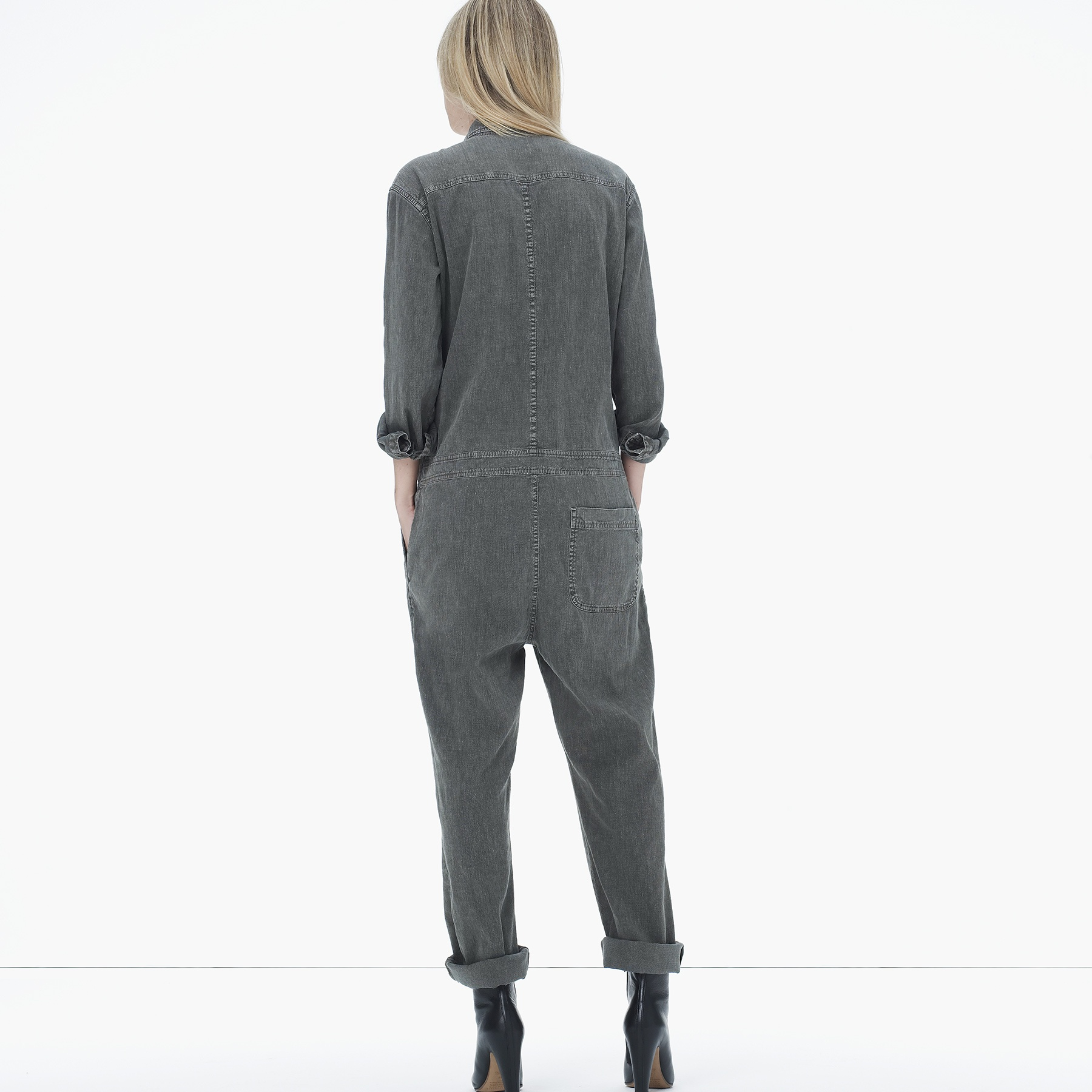 4b3220bbd7 Lyst - James Perse Stretch Cotton Linen Jumpsuit in Gray