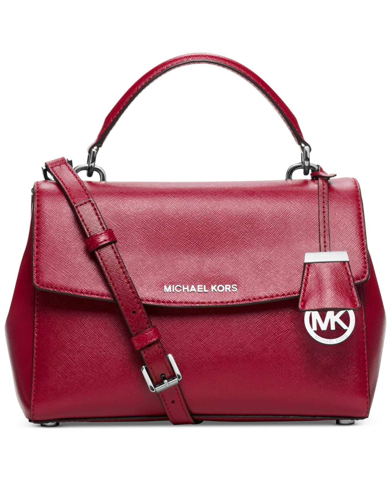 2bd83c83e139 ... Michael kors Ava Small Leather Satchel in Red Lyst ...