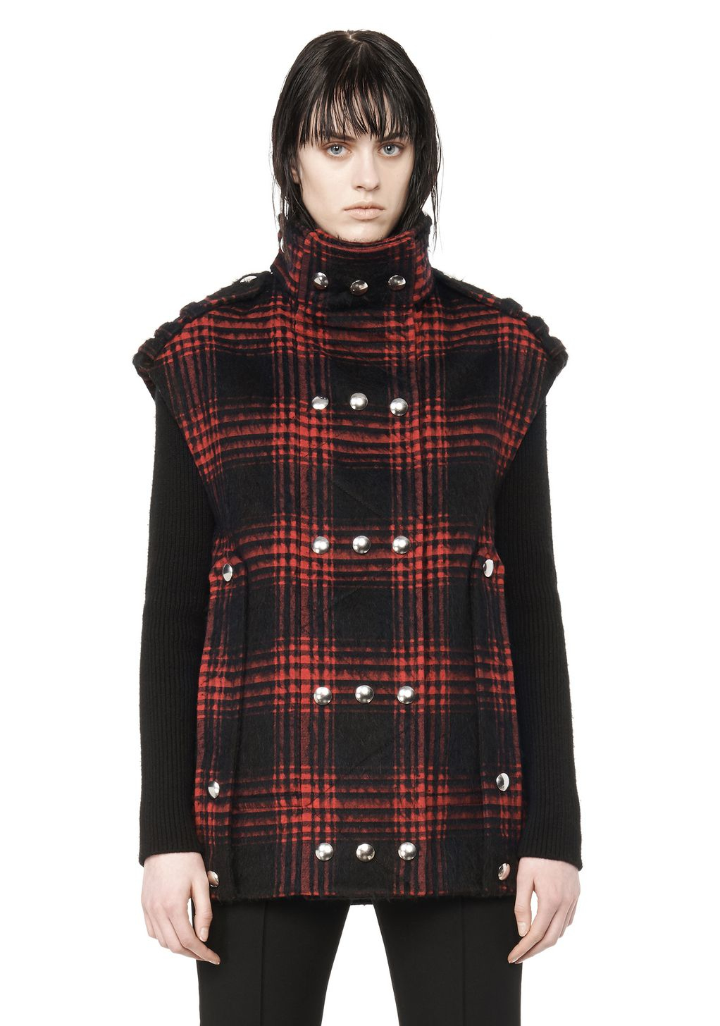 lyst alexander wang plaid cotton blend vest in red. Black Bedroom Furniture Sets. Home Design Ideas