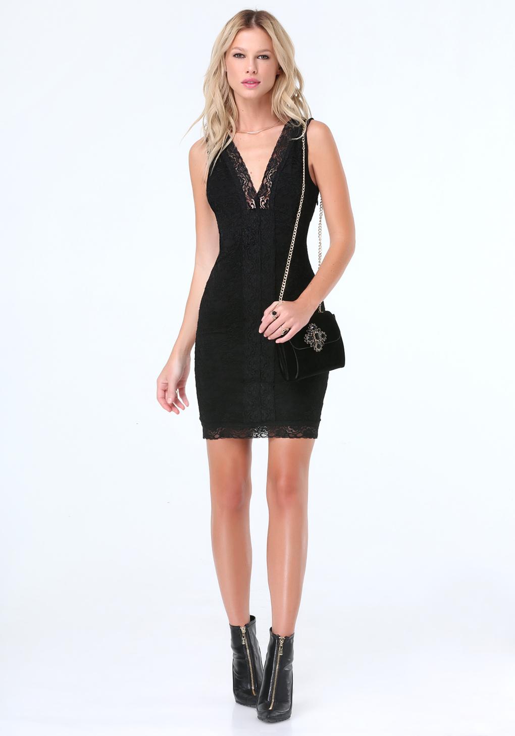 cfff5e89e7b8 Lyst - Bebe Lace Deep V-neck Dress in Black