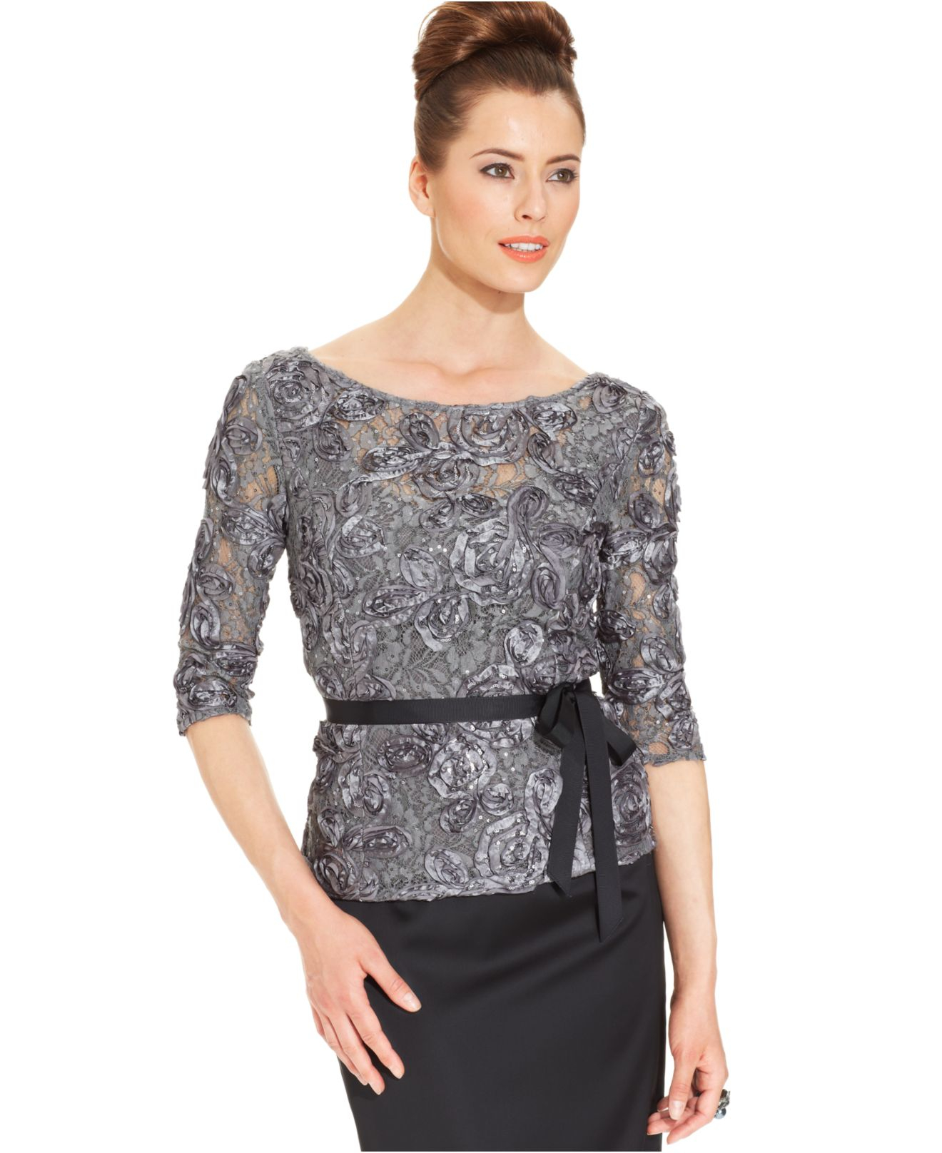 Lyst Alex Evenings Three Quarter Sleeve Sequined Lace Top In Metallic