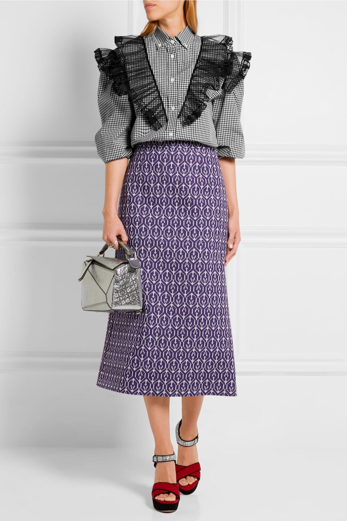 e1eec4ceacb440 Miu Miu Ruffled Lace And Tulle-paneled Cotton-poplin Shirt in Black ...