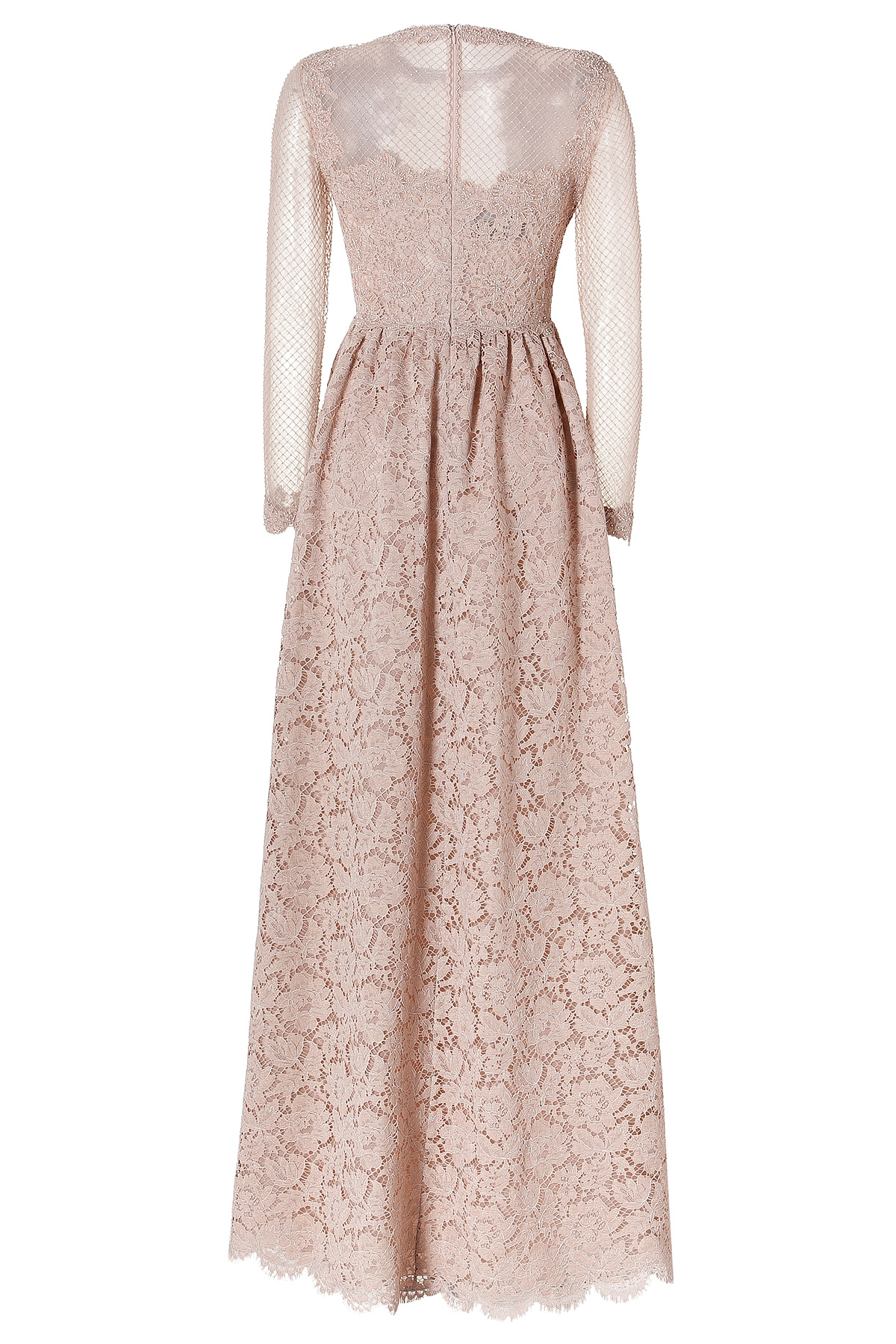 Lyst - Valentino Embellished Lace Evening Gown with Netted Long ...
