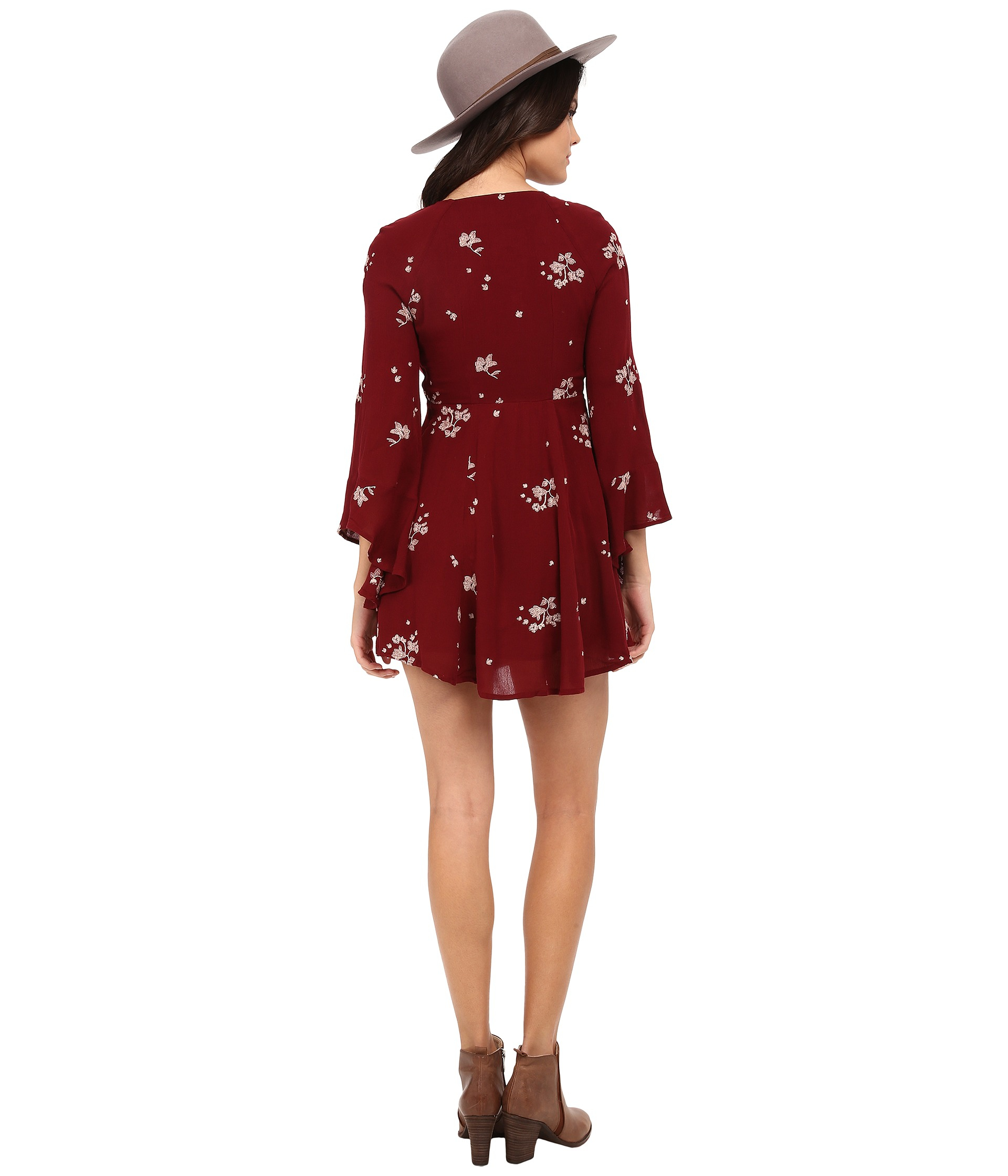 2b4e0403dc0 Free People Jasmine Embroidered Mini Dress in Red - Lyst