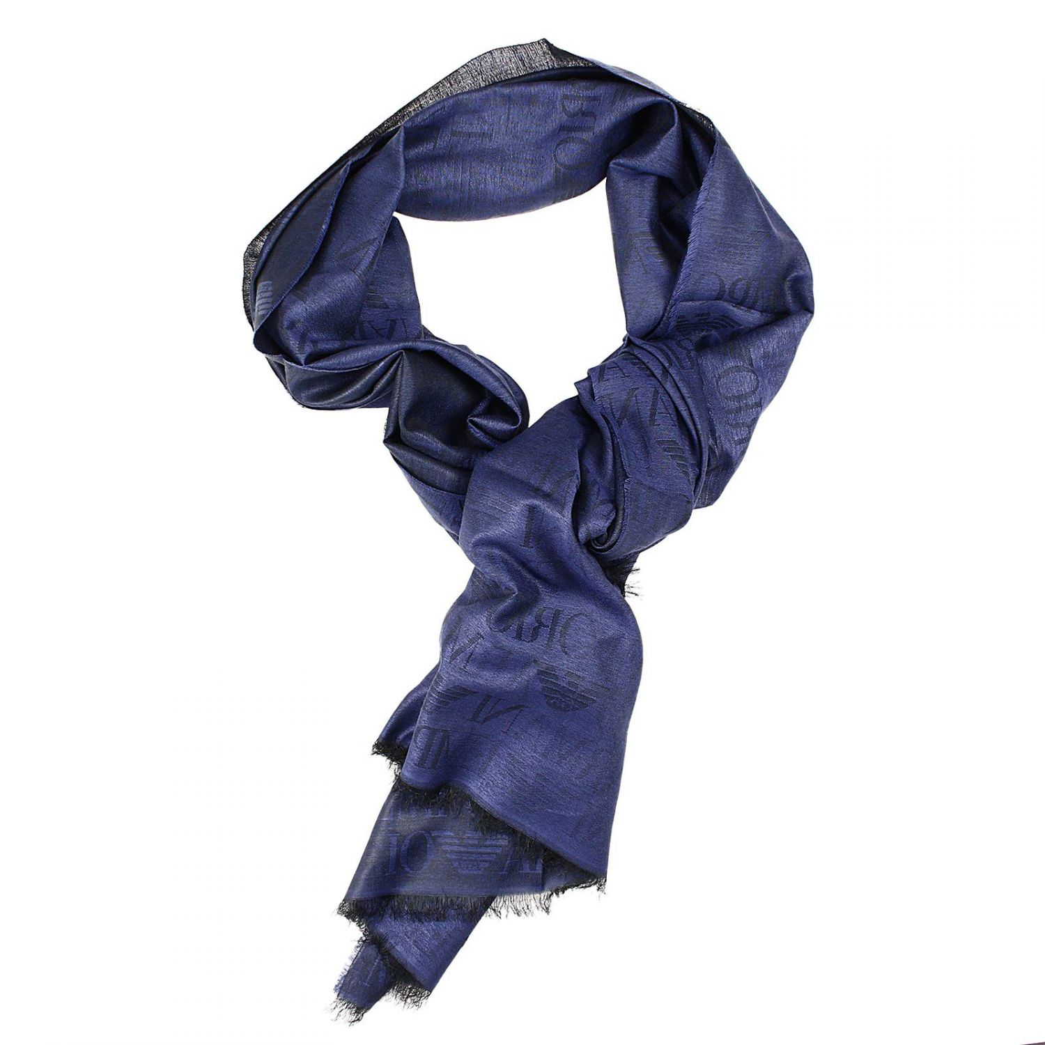 giorgio armani scarf 75x195 cotton logo in blue for lyst