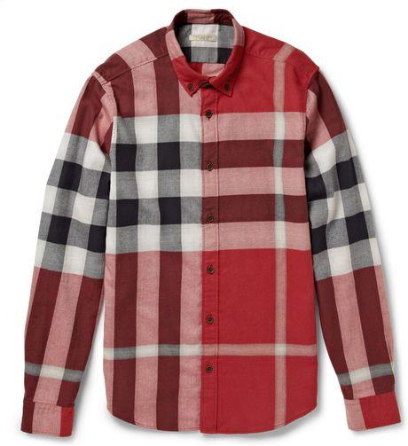 Burberry Brit Buttondown Collar Check Cottonflannel Shirt