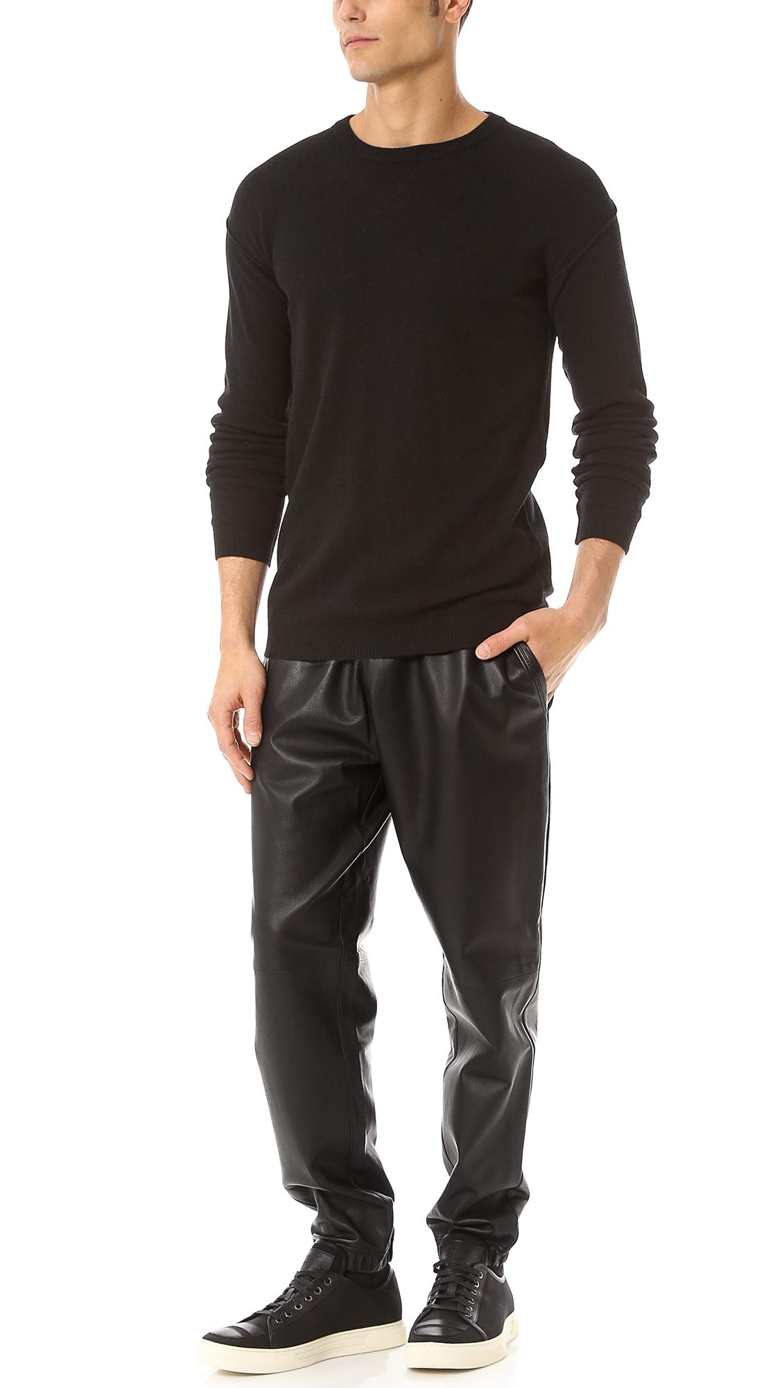 Mens leather sweatpants