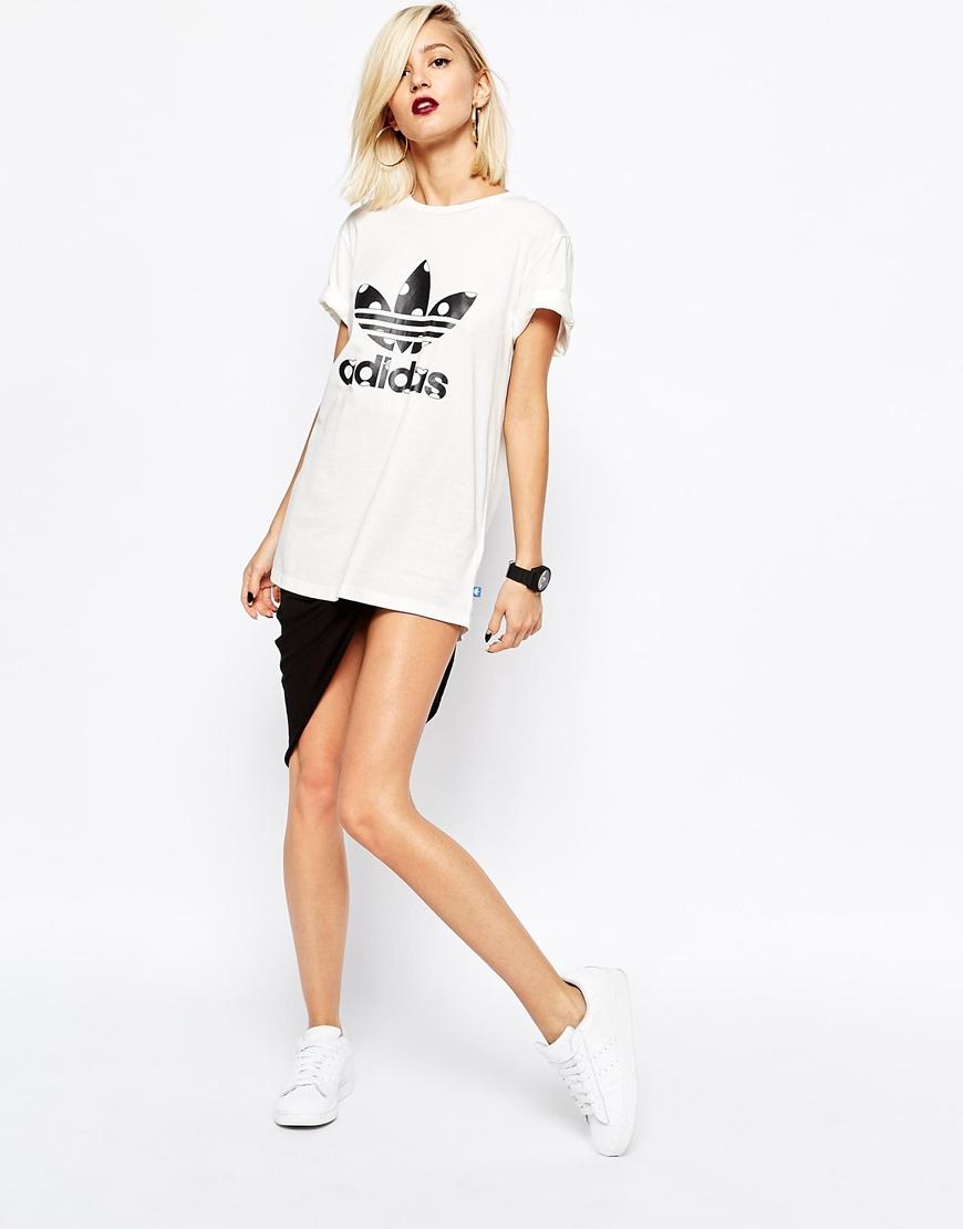 4391f227 adidas Originals Polka Dot Trefoil Logo T-shirt With Big Spot in ...