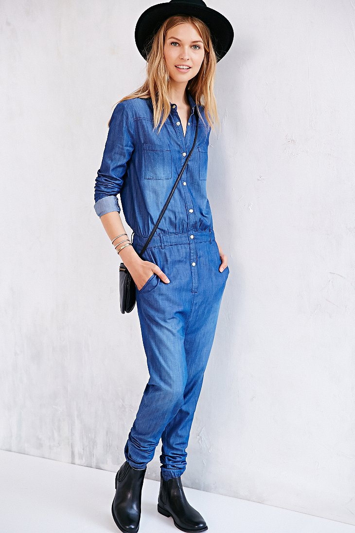 f55d9a345bde Lyst - One Teaspoon Chambray Defender Utility Jumpsuit in Blue