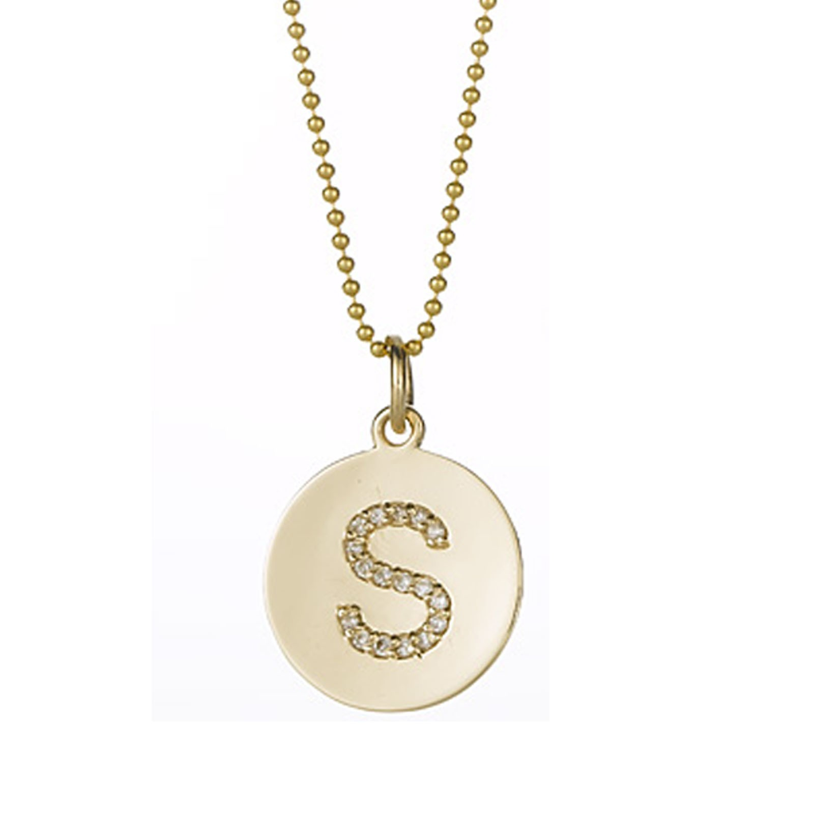 14kt initial pendant necklace in