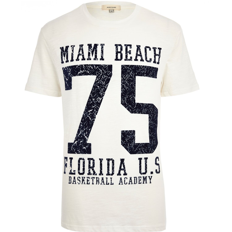 River island ecru miami beach 75 print t shirt in natural for Miami t shirt printing