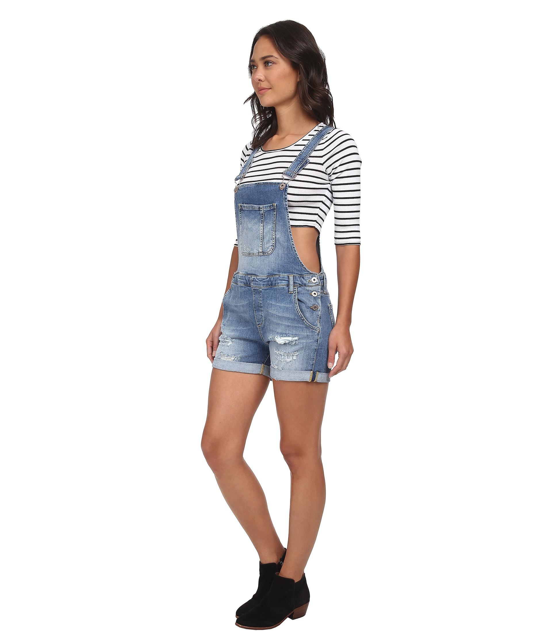 012f1b2af641 Lyst - Mavi Jeans Wanda Denim Shortall In Light Used Vintage in Blue