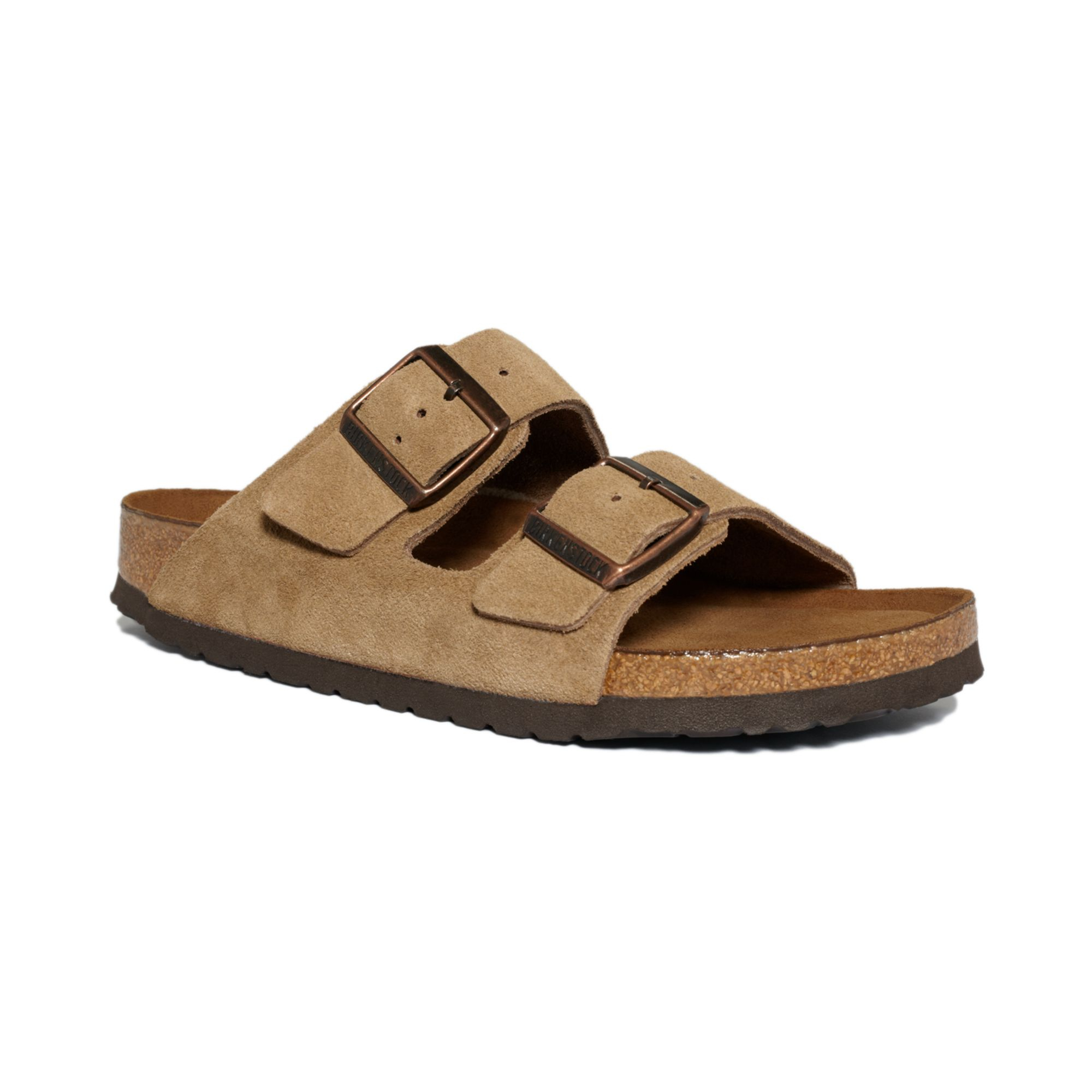 Birkenstock Arizona Soft Footbed Two Band Suede Sandals In
