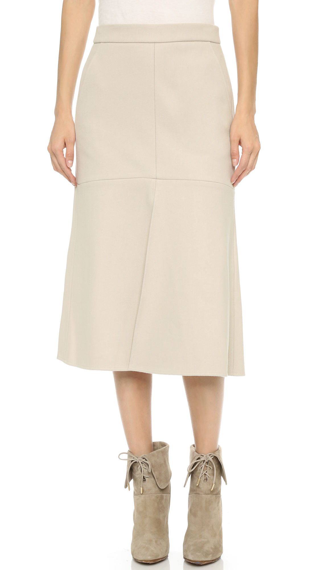tibi front slit midi skirt in white lyst