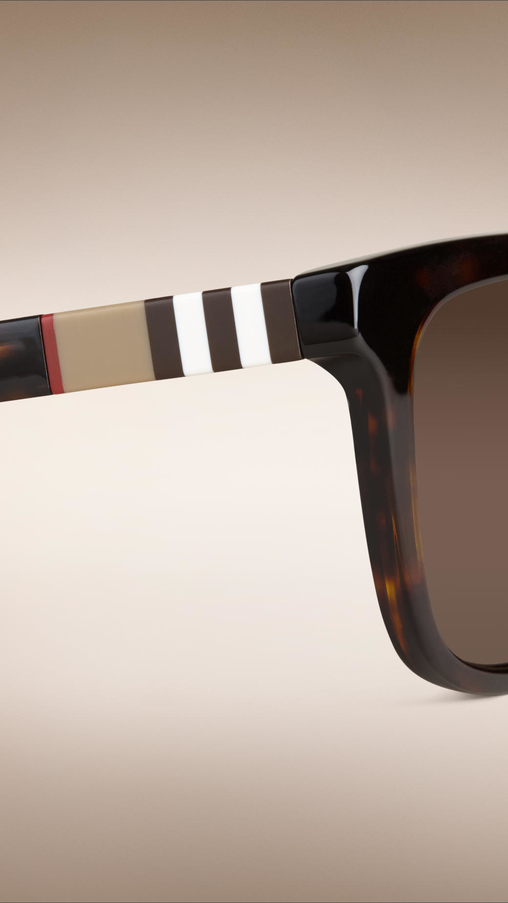 6730a4b5902 Lyst - Burberry Square Frame Check Detail Sunglasses Brown in Black ...