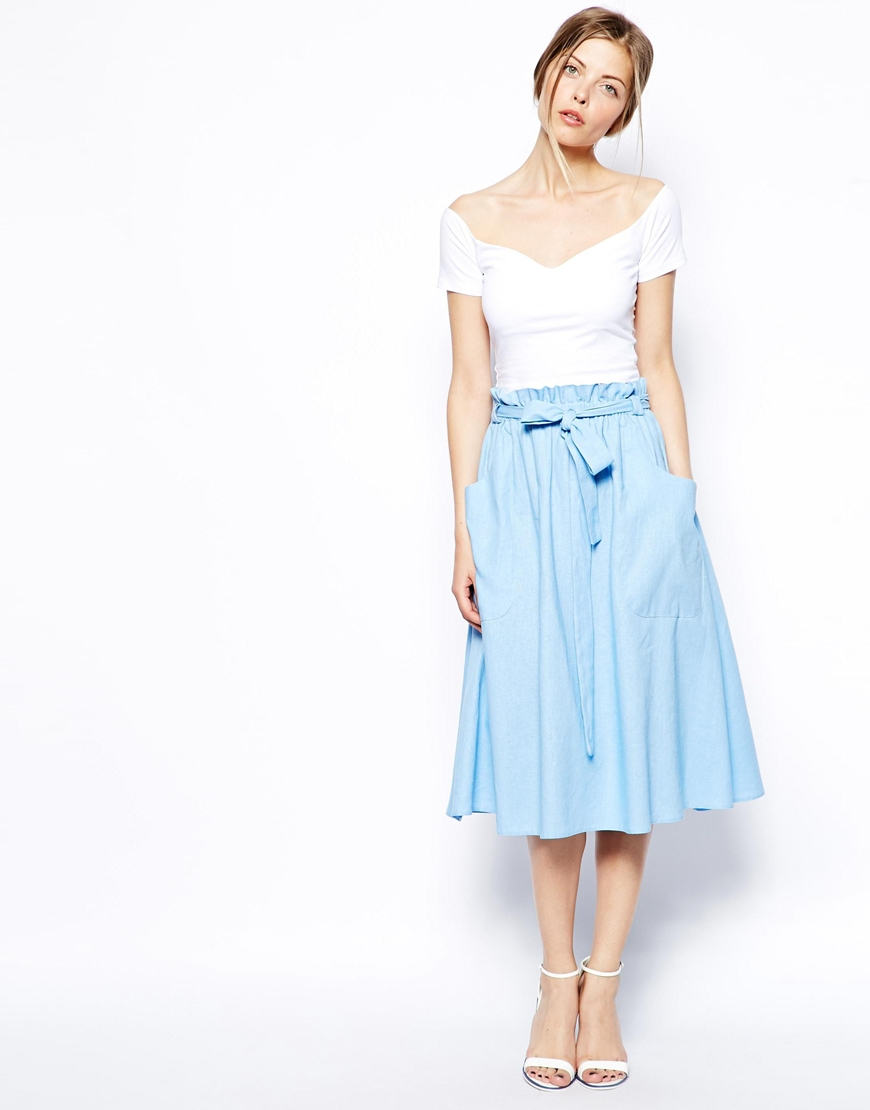 Asos Linen Midi Skirt With Pocket Detail in Blue | Lyst