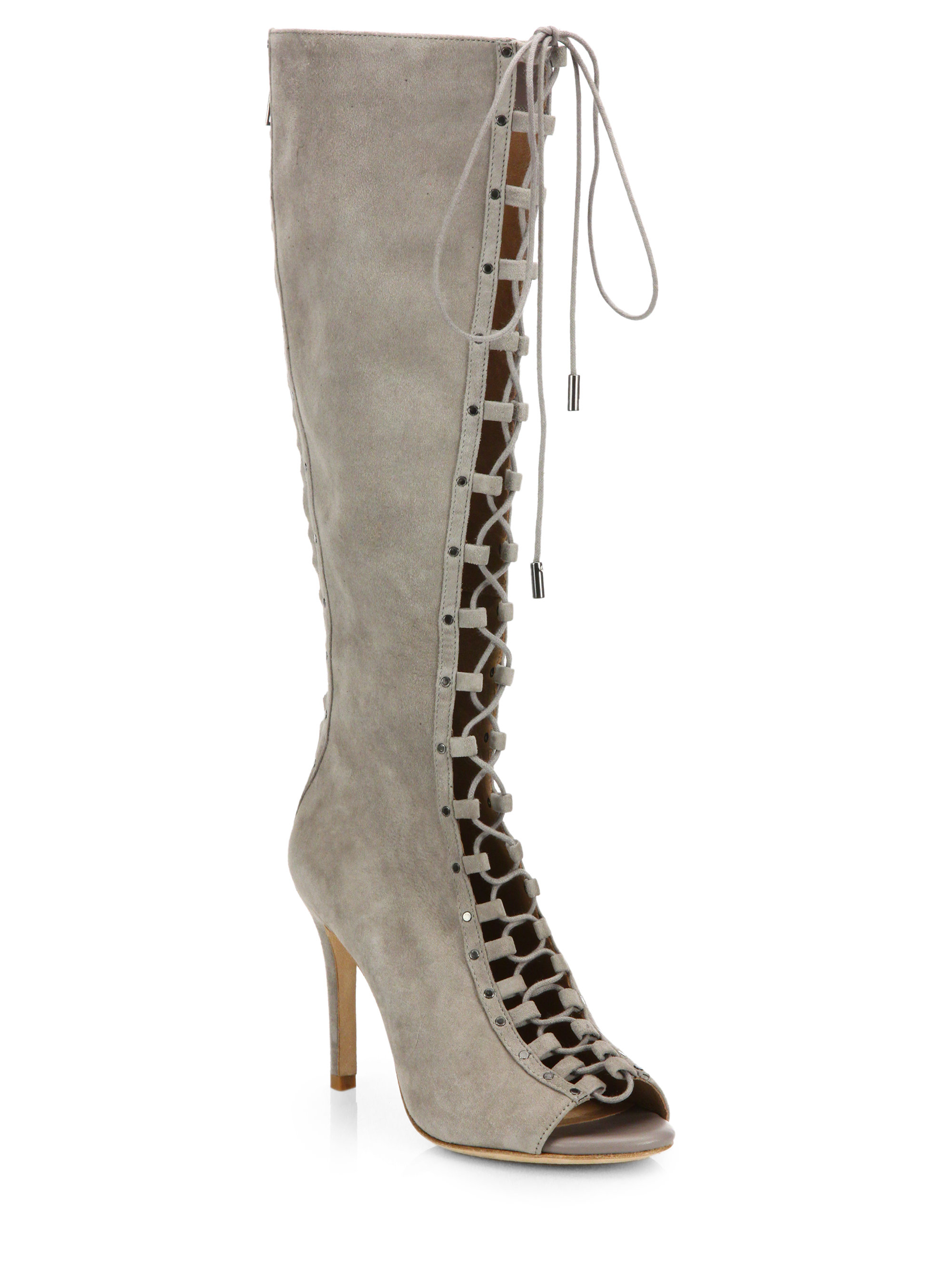 Joie Aubrey Suede Lace-up Peep-toe Knee Boots in Gray | Lyst
