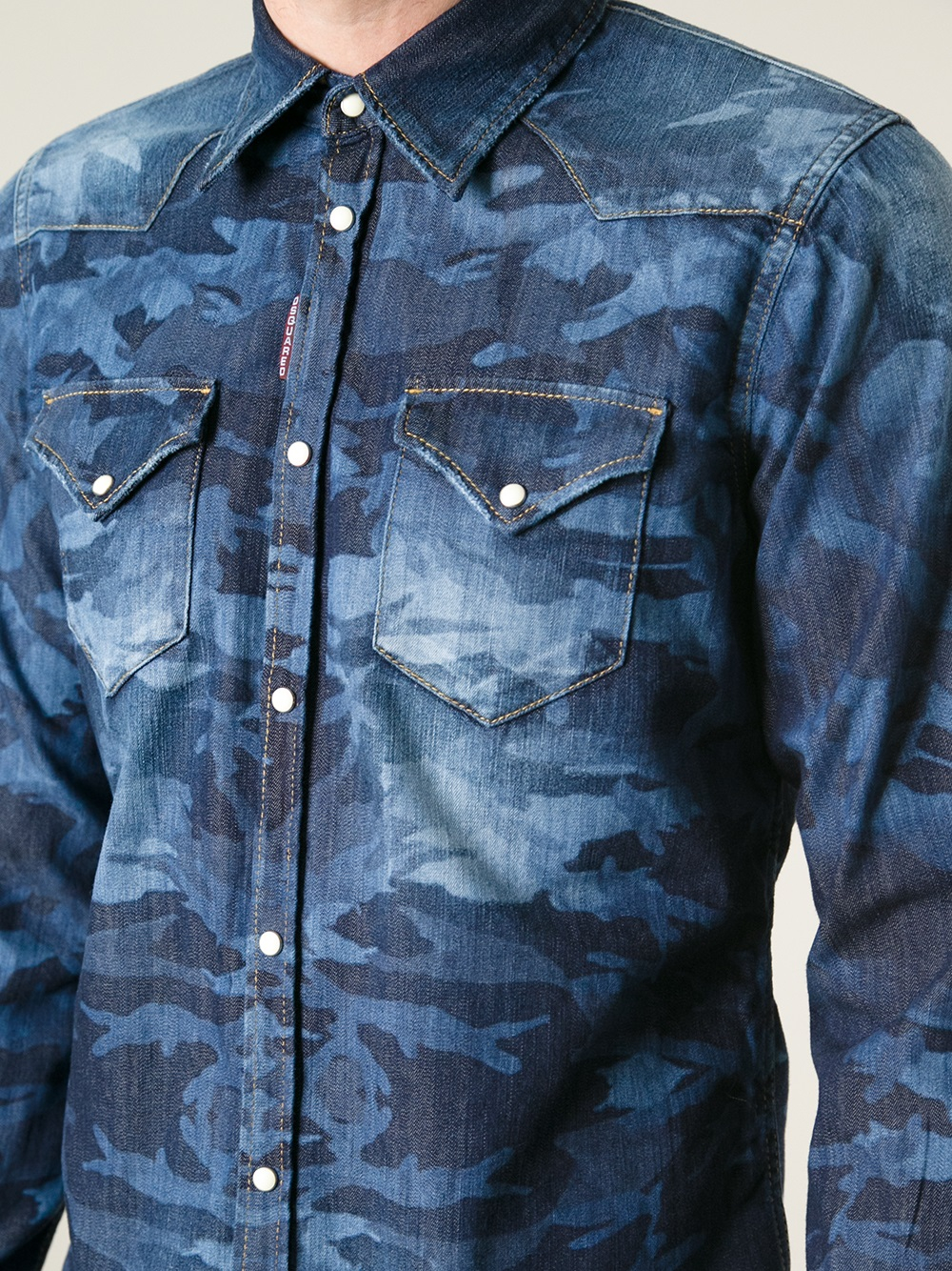Dsquared 178 Camouflage Denim Shirt In Blue For Men Lyst