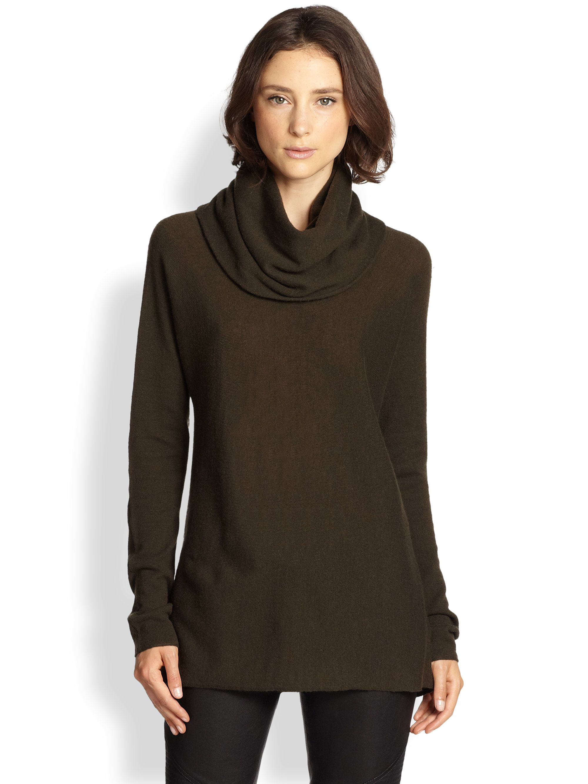 Vince Cashmere Cowlneck Sweater in Natural | Lyst