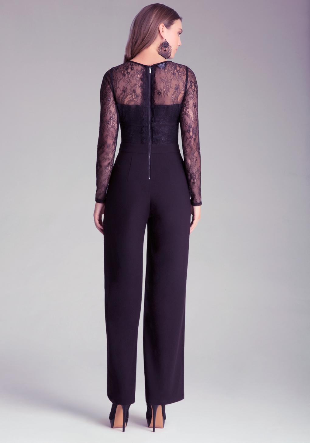lyst bebe petite lace jumpsuit in black. Black Bedroom Furniture Sets. Home Design Ideas