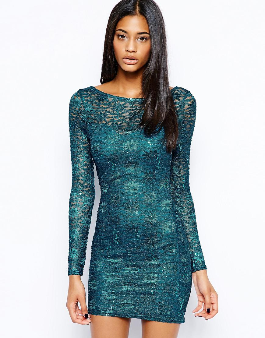 Lyst - Lipsy Lace Sequin Bodyconscious Dress with Long Sleeves in Blue