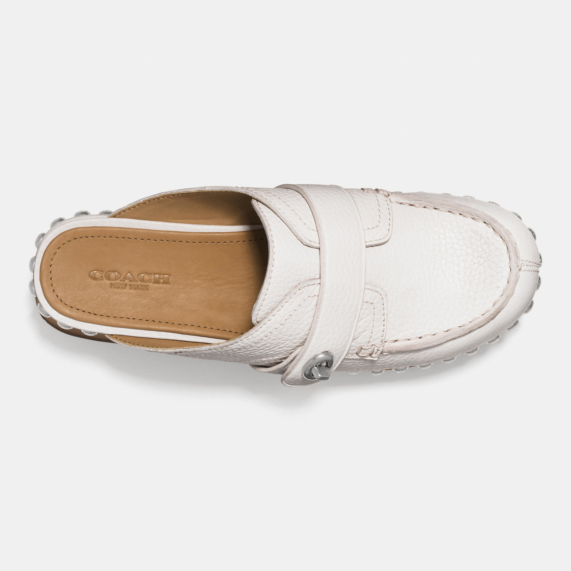 Coach Turnlock Mid Heel Clog With Rivets In Natural Lyst