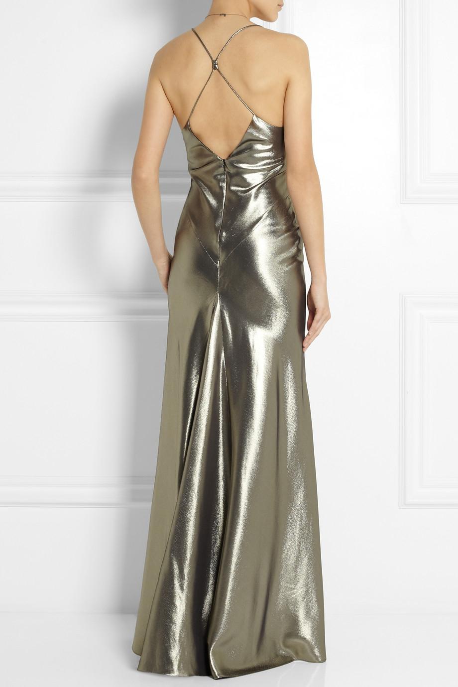 Topshop Fluted Silk Blend Lam 233 Maxi Dress In Metallic Lyst