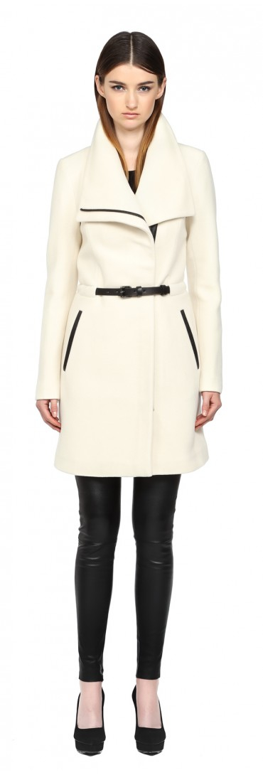 Mackage Valencia-f5 Off White Belted Solid Wool Coat in White | Lyst