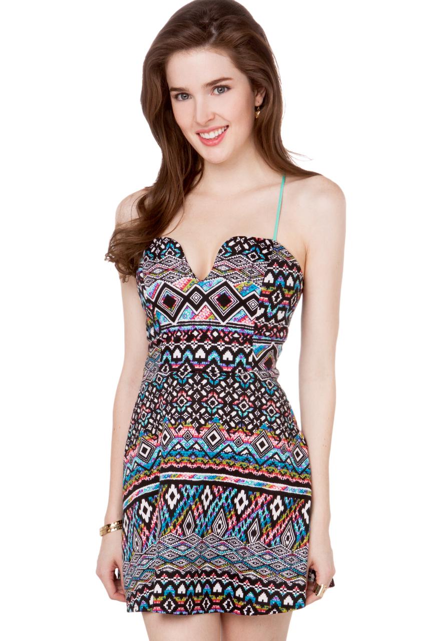 Love 21 Tribal Print Woven Dress in Multicolor (Navy