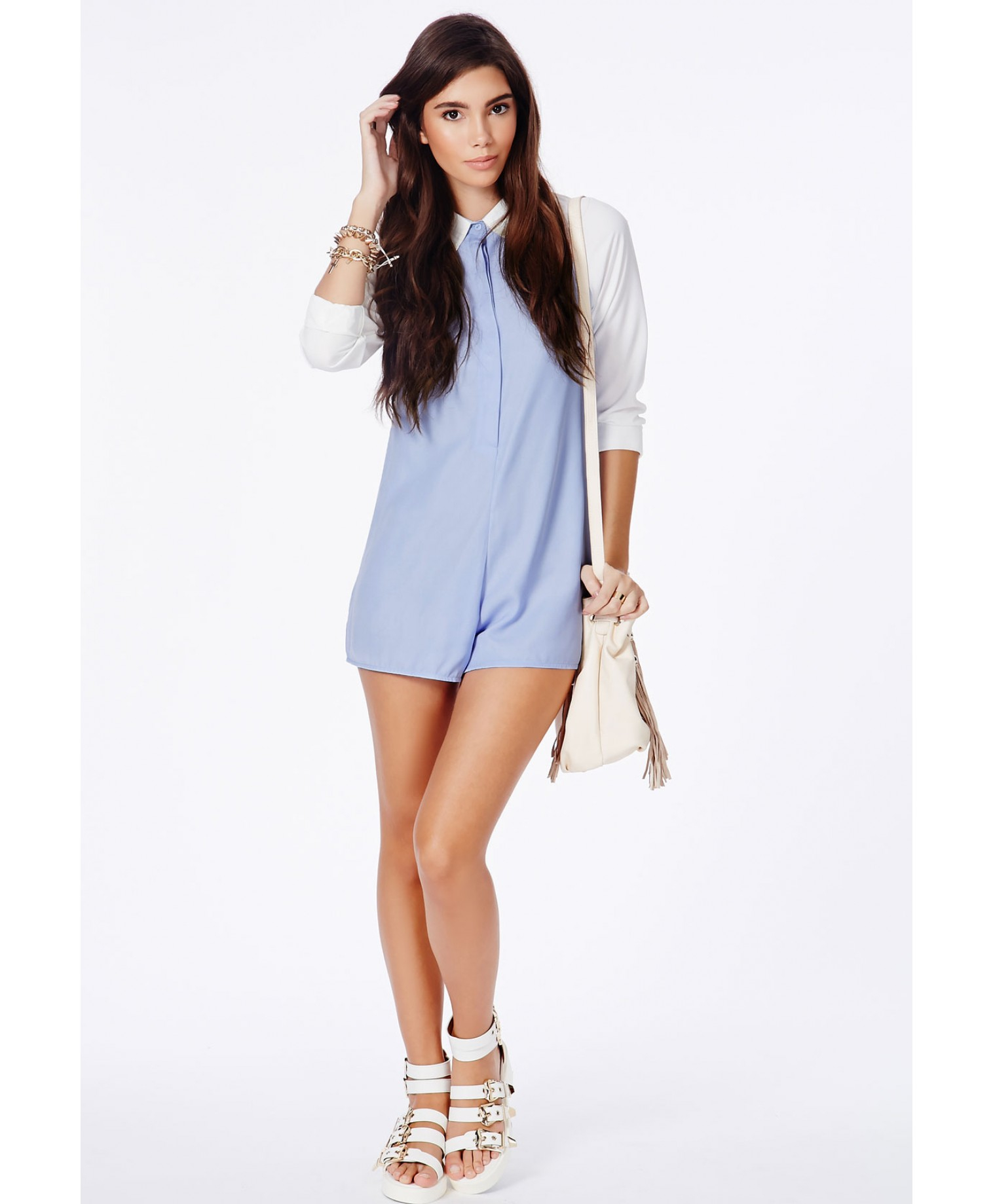 521f4270ce9 Lyst - Missguided Beatrina Contrast Tailored Playsuit in Powder Blue ...