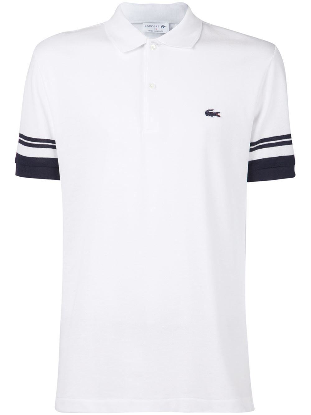 lacoste striped trim polo shirt in white for men lyst. Black Bedroom Furniture Sets. Home Design Ideas