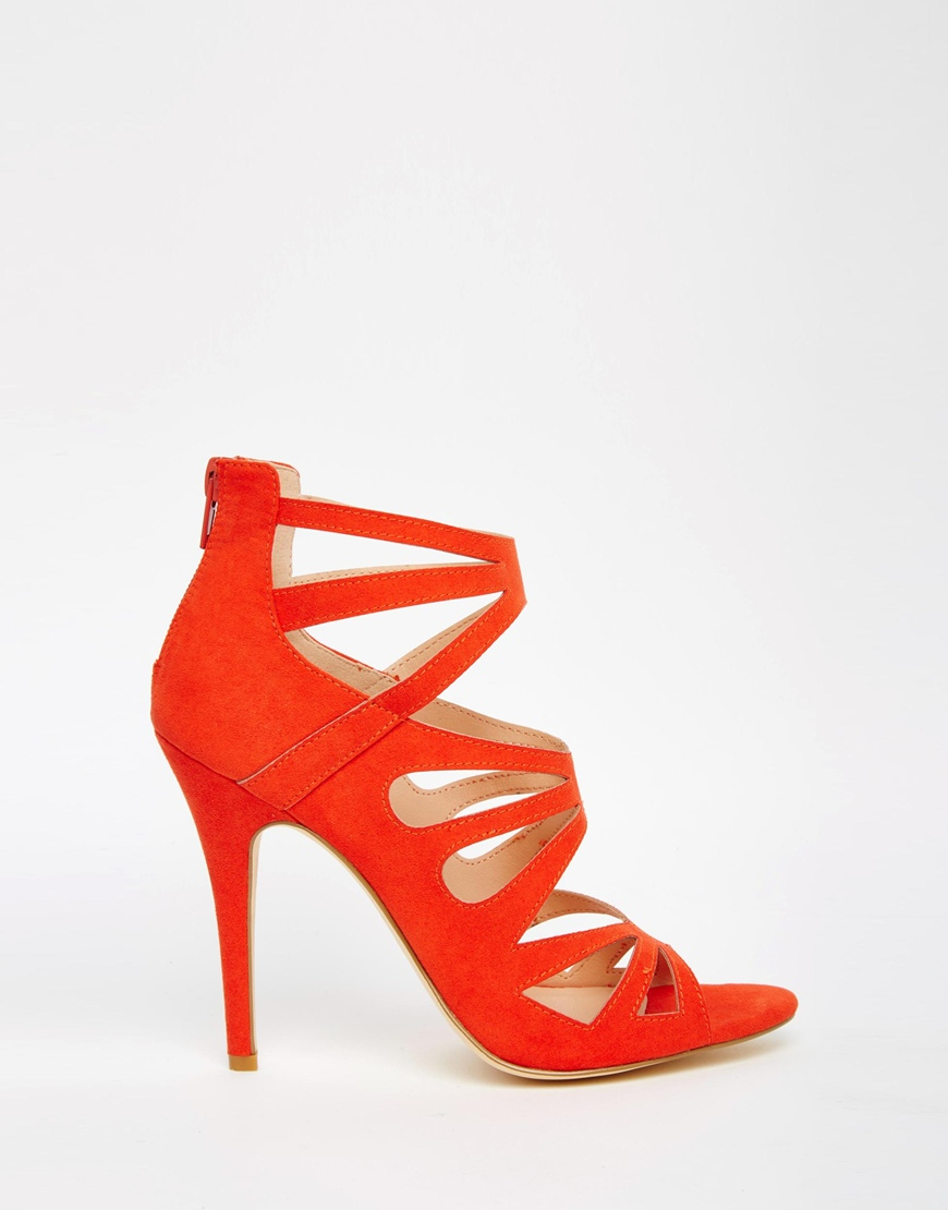 6be438e7922e Lyst - London Rebel Strappy Heeled Sandals in Red