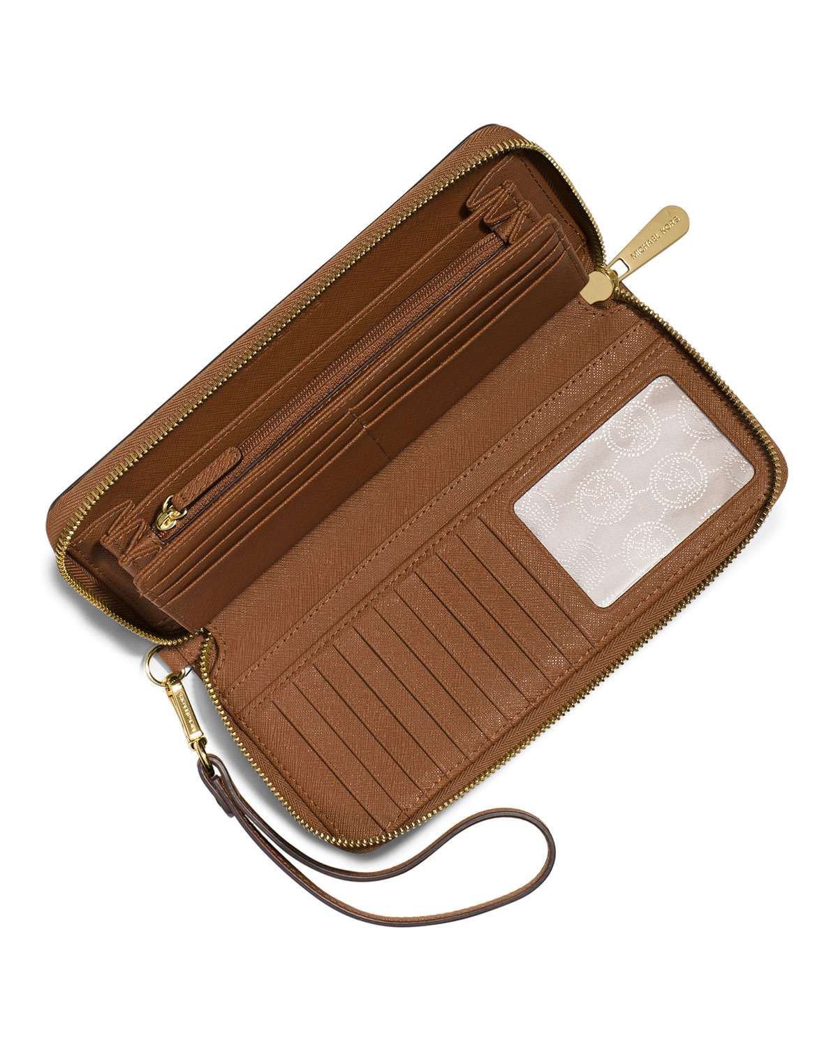 bce720f8e57a Lyst - MICHAEL Michael Kors Leather Wristlet in Brown